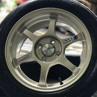 Ssr type c 15 inch sports rim honda jazz tyre 80%