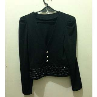 black cropped blazer with studs