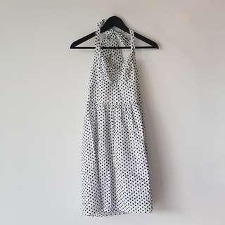 60's Playful Polkadot Dress in White