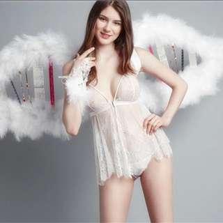 天使純色蕾絲透視睡衣裙