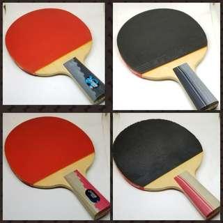 98%新 正品 紅雙喜 DHS 三星 直拍 乒乓球拍 2個 (連兩個波及球拍套)