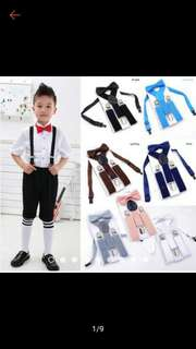 Kid suspender y-clip with matching bow tie