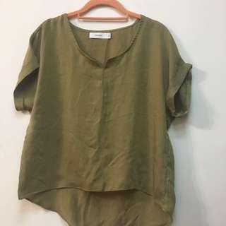 Starmimi s號質感佳 石墨綠色 緞面 襯衫上衣