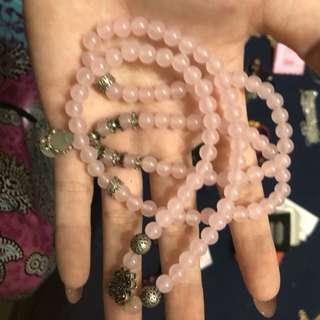 🚚 粉紅水晶佛珠