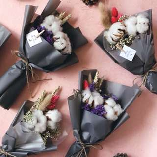 Petite dried flower bouquet with cotton flowers