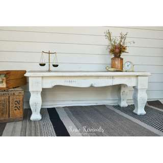 Large Rustic Provincial White Distressed Coffee Table with Timber Top
