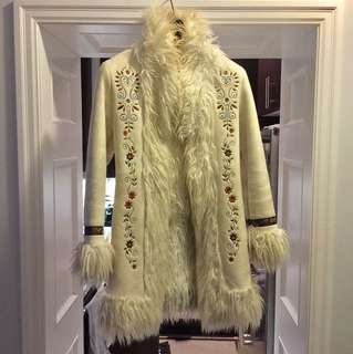 Suede and faux fur coat w/ embroidery