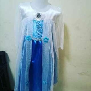Costum frozen+mahkota, tongkat, rambut kepang elsa