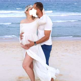 Maternity Pregnancy Photoshoot Dress and Baby Breath Flower Wreath