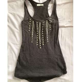 Sporty Casual Top with Bead & Sequin Design (Grey/Silver)