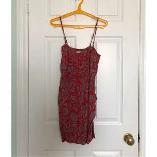Rouched Skater Summer Dress w/ Pockets (grey/red)
