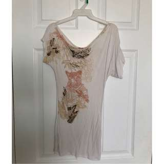 Trendy Off The Shoulder Top (cream with print and beads)