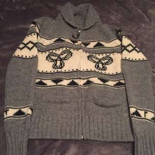 Aritzia TNA Wool Knit Cabin Zip Up Sweater