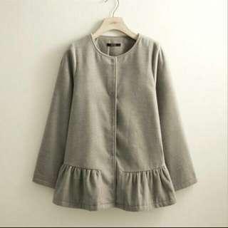 Lovfee韓系荷葉排釦毛呢外套