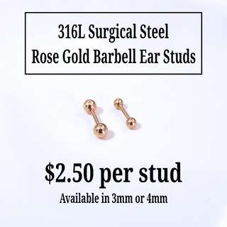 316L Surgical Steel Rose Gold Simple Barbell Ear Studs
