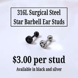 316L Surgical Steel Star Barbell Ear Studs
