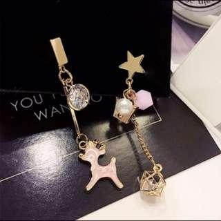 🚚 ✔️(任選3附500$)聖誕耳環韓國簡約百搭耳飾個性不對稱吊墜潮人耳墜長款氣質耳環