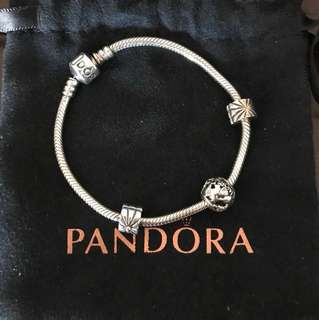 Pandora bracelet with charm and clips