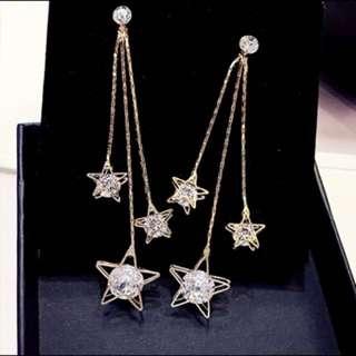 🚚 ✔️(3附500$)水晶五角星星百搭流蘇耳環韓國吊墜氣質長款個性耳飾品耳環