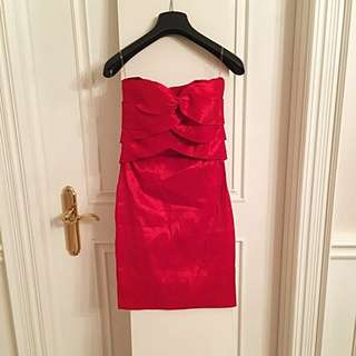 Red Strapless Dress - Folded Front