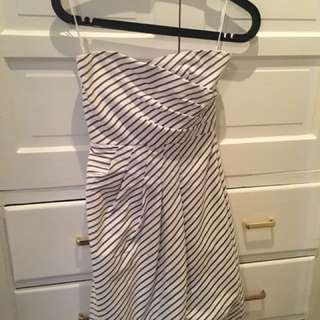 Zara White stripe strapless dress