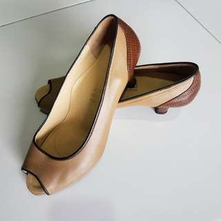 [PRICE FURTHER REDUCED] Scholl Leather Peep Toe Shoes (Size 8)