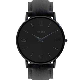 Gioluca Black Leather Watch - Dark Knight