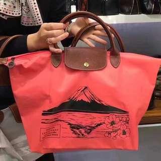 日本限定,Longchamp富士山圖案,中號短帶