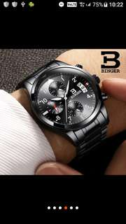手錶男潮全自動機械錶男表夜光防水精鋼帶腕錶多功能軍錶  1.白面鋼帶3點標 2.藍色鋼帶3點標  3.黑鋼帶藍面12點標  4.黑面鋼帶12點標