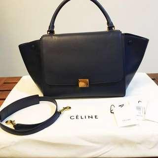 Celine Medium Trapeze in Navy Blue ( Side leather)