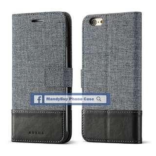 特別款式 出口品質 MUXMA iPhone 6s 帆布 插卡 座台 超薄 手機皮套