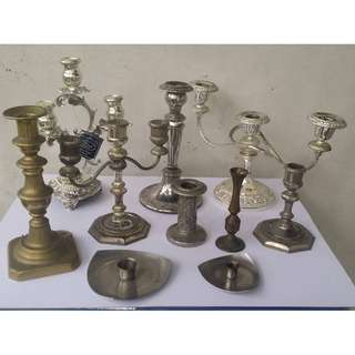 vintage candle holders assorted