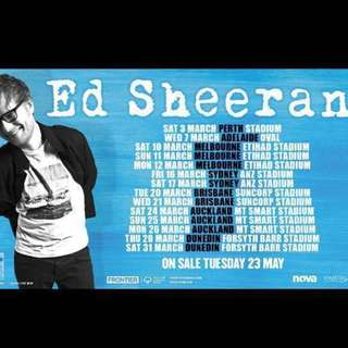 16th March Ed Sheeran Sydney General admission rear Tickets