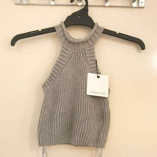 Brand new Grey Knitted High Neck Crop Top
