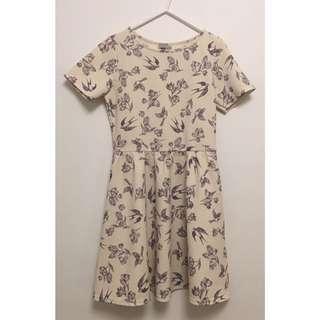 ASOS Bird Print Skater Dress w Sleeve