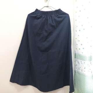 深藍色 棉麻材質 長裙