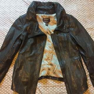 Danier Blue/Grey Leather Jacket (2XS)