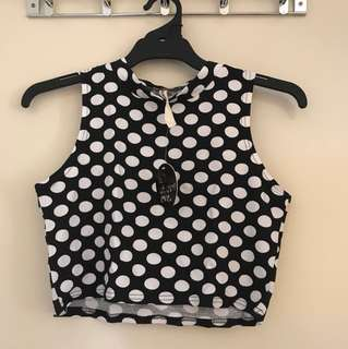 Brand new All About Eve Polka Dot Crop High Neck Top