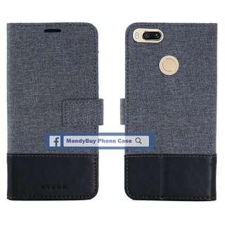 特別款式 出口品質 MUXMA 小米 Mi A1 (5X) 帆布 插卡 座台 超薄 手機皮套
