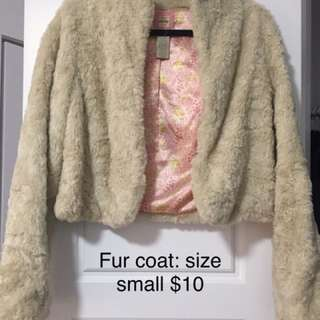 Old Navy crop fur coat