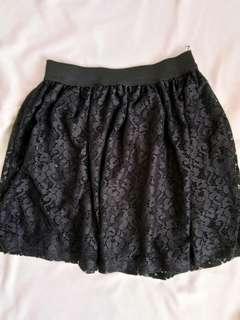 Pull&Bear Black Laced Skater Skirt