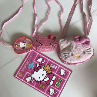 Hello kitty bags and coloring book