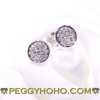 全新18K白金32份超白超閃鑽石耳環 ((圓圈造型))