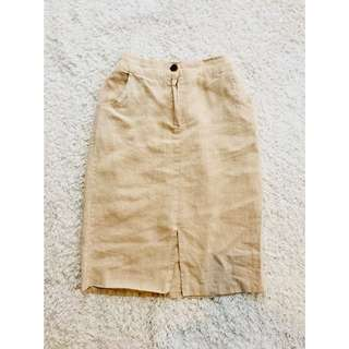 Beige High-waisted Midi Skirt