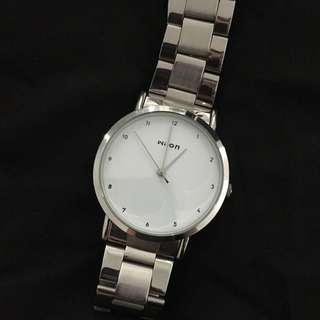 Silver slick modern watch