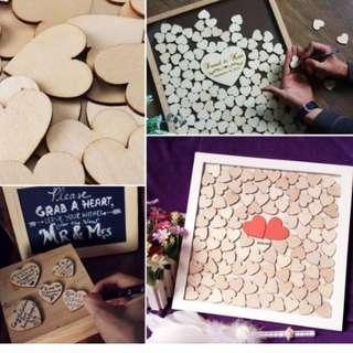 HKA0226AA - Brand New 30pcs 40mm* 40mm Hearts Cut MDF Wooden Shape Craft Arts Decoration