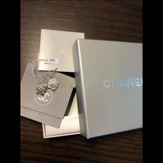 Chanel Camellia Silver Earigs