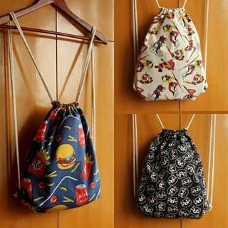 Women Drawstring Bag/Tas Ransel Tali Wanita/Tas Kain Motif Lucu Wanita/Tas Serut Wanita