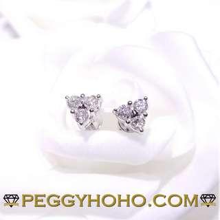 ((大睇靚石)) 全新18K白金60份超白超閃鑽石耳環((3角造型))
