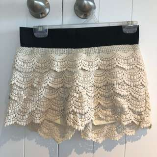 Frilly Cream Shorts